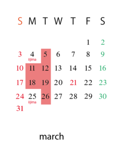 3月のスケジュール
